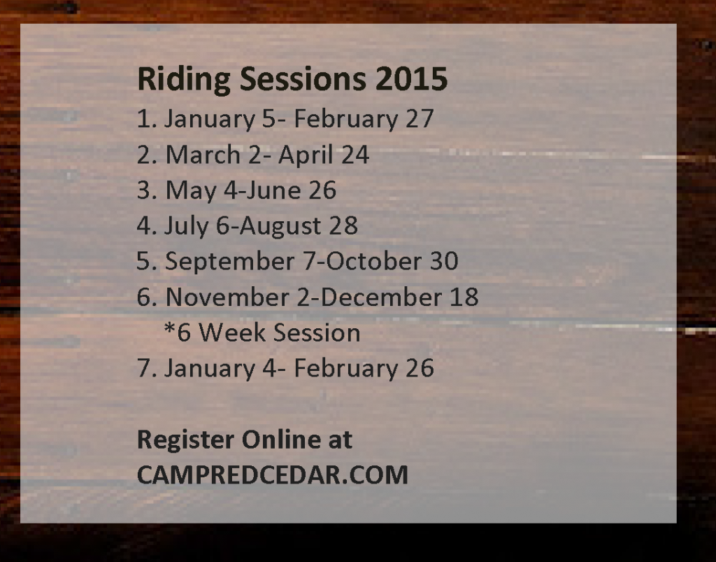 Camp Red Cedar, 2015 Camp and Riding Schedule_Page_2, Events