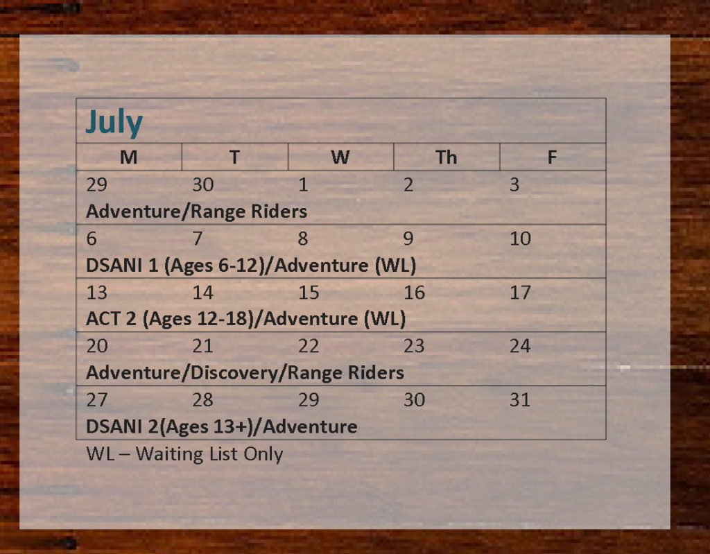 Camp Red Cedar, 2015 Camp and Riding Schedule_Page_2, July